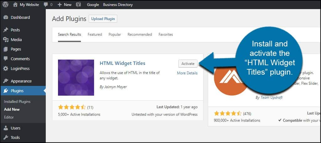 HTML Widget Titles