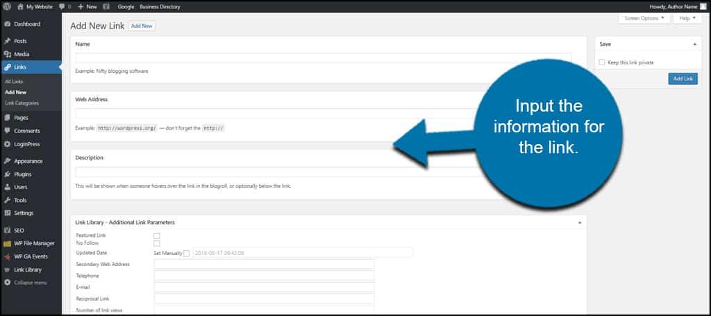 Input Link Info