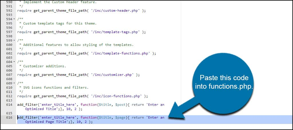Paste Page Code