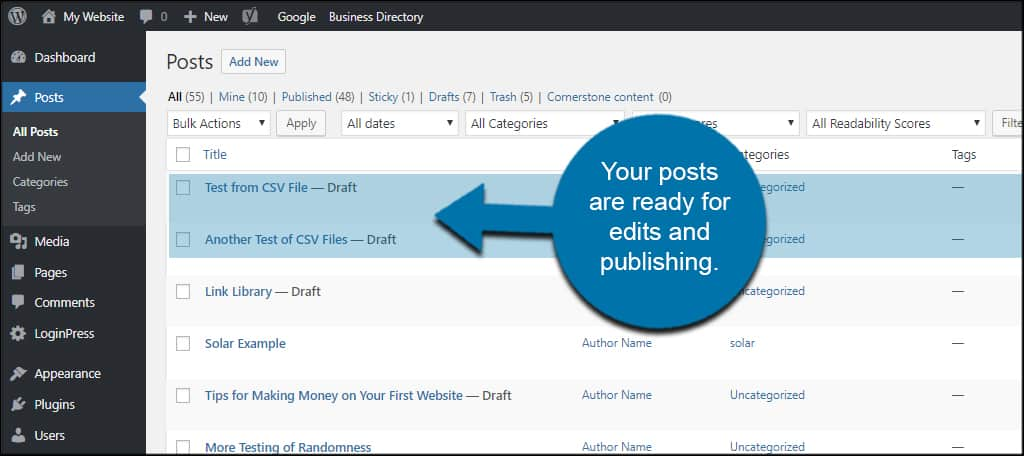 How to Import WordPress Posts from CSV Files - GreenGeeks