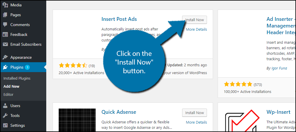 "click on the ""Install Now"" button"