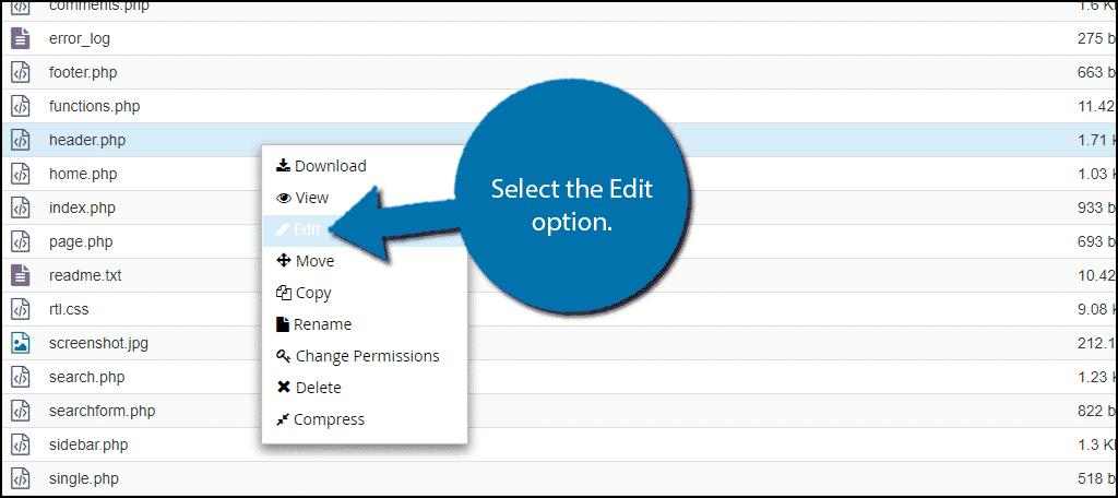 Select the Edit option.