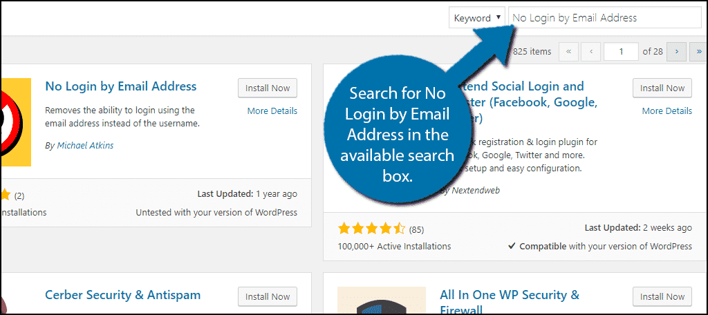 Search for No Login by Email Address in the available search box.