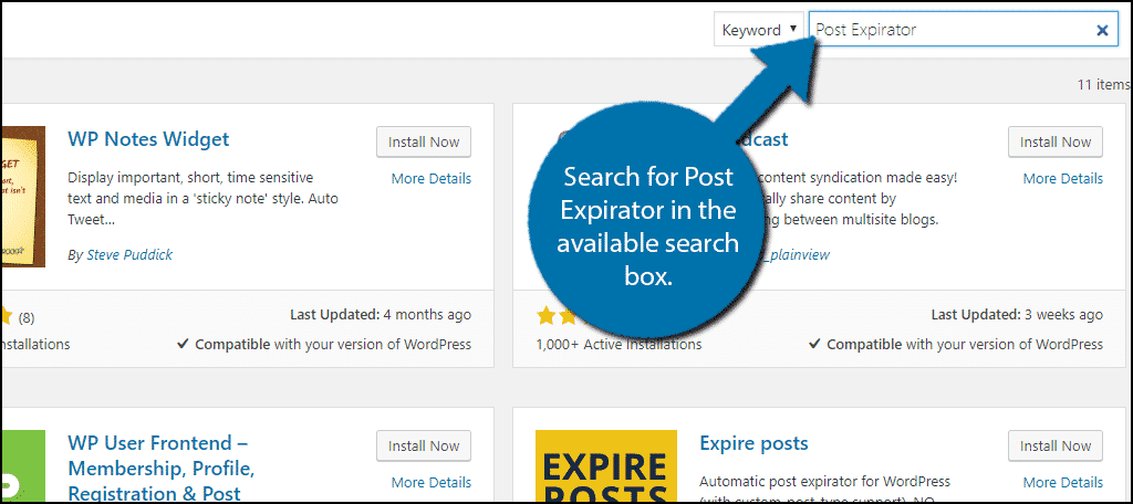 Search for Post Expirator in the available search box.