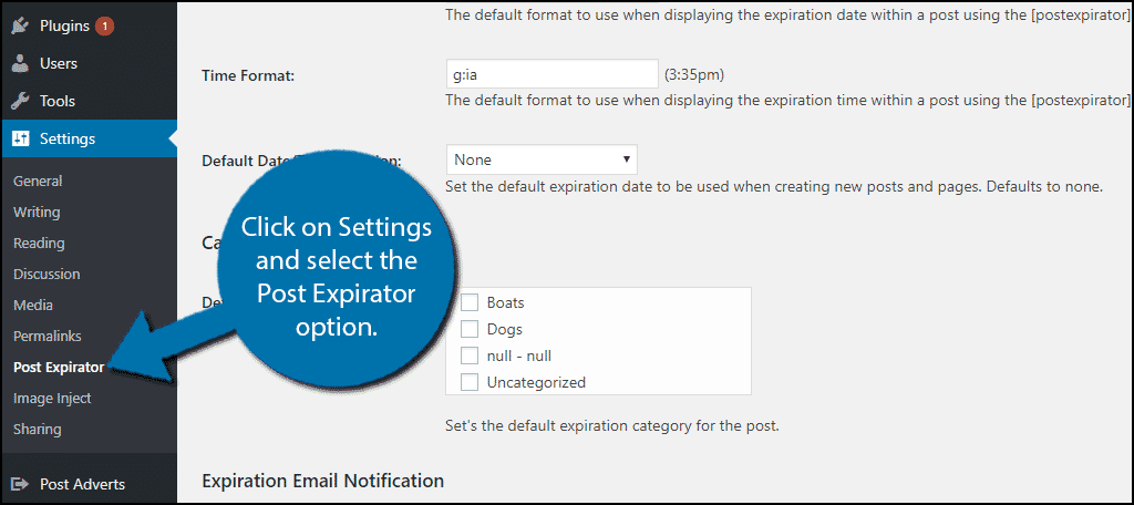 Click on Settings and select the Post Expirator option.