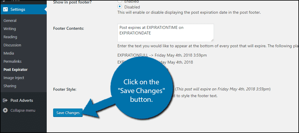 """Click on the """"Save Changes"""" button."""