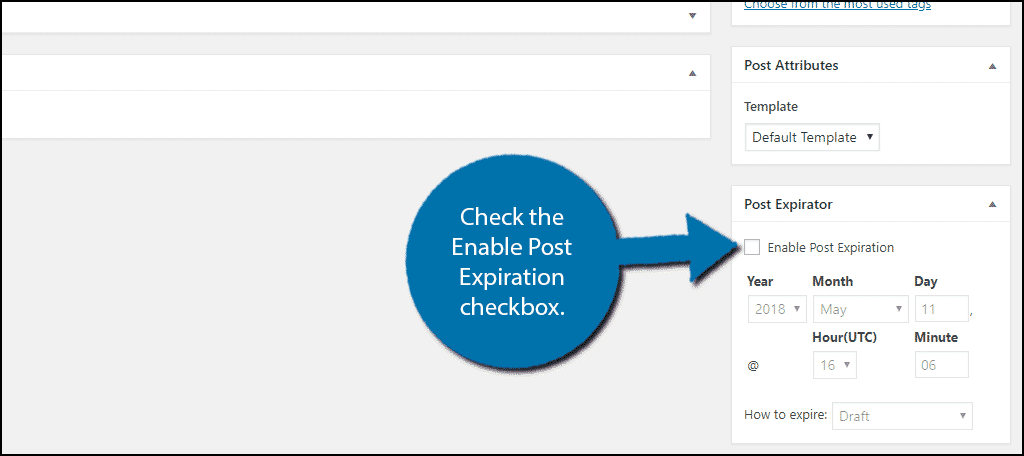 Check the Enable Post Expiration checkbox.
