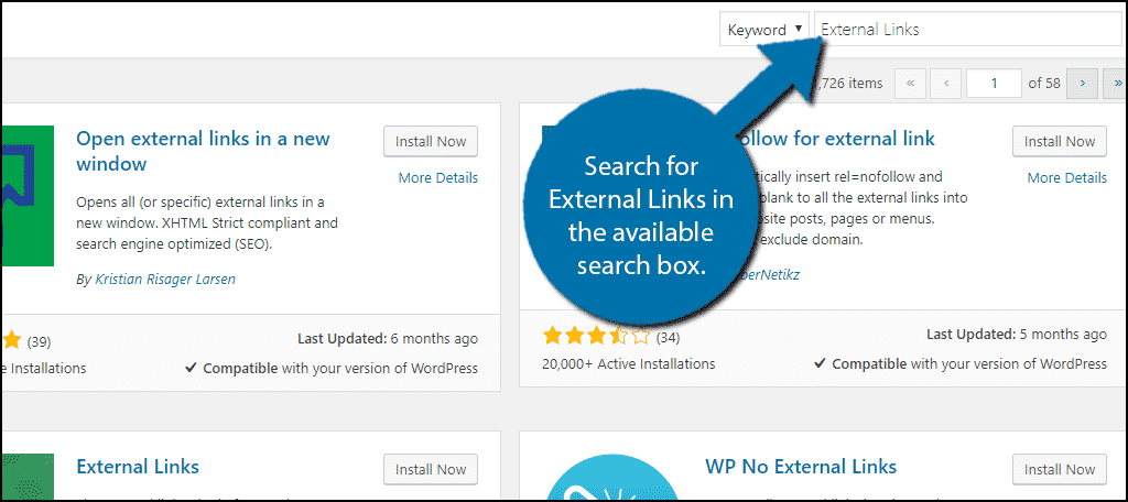 Search for External Links in the available search box.