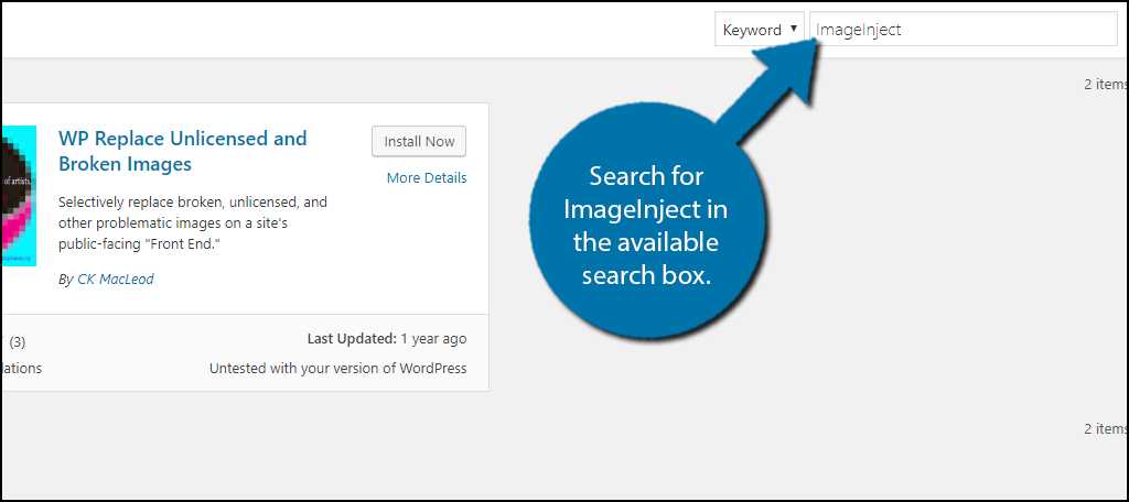 Search forImageInject in the available search box.