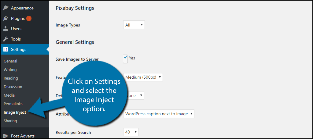 click on Settings and select the Image Inject option.