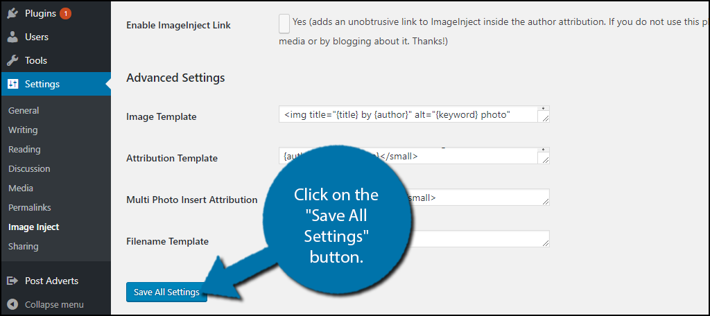 """Click on the """"Save All Settings"""" button."""