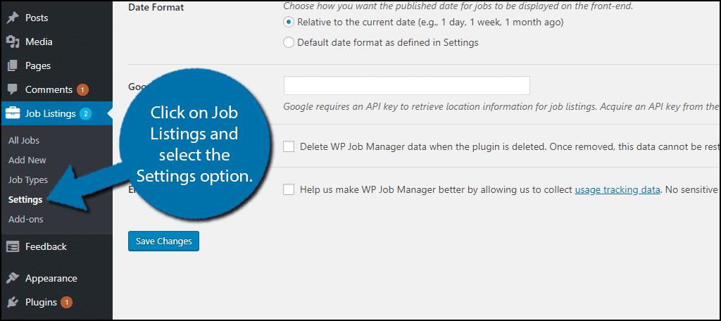 Click on Job Listings and select the Settings option.