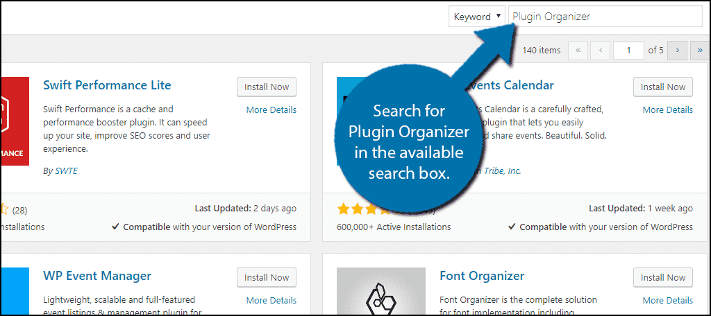 Search forPlugin Organizer in the available search box.