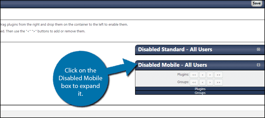 Click on the Disabled Mobile box to expand it.
