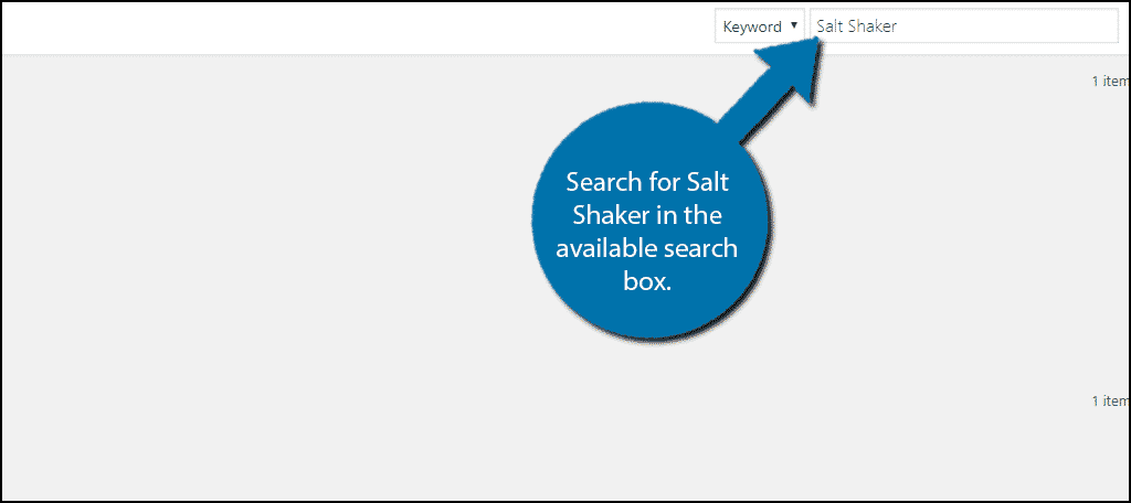 Search for Salt Shaker in the available search box.