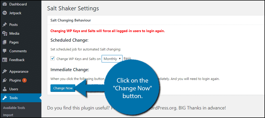 """Click on the """"Change Now"""" button."""