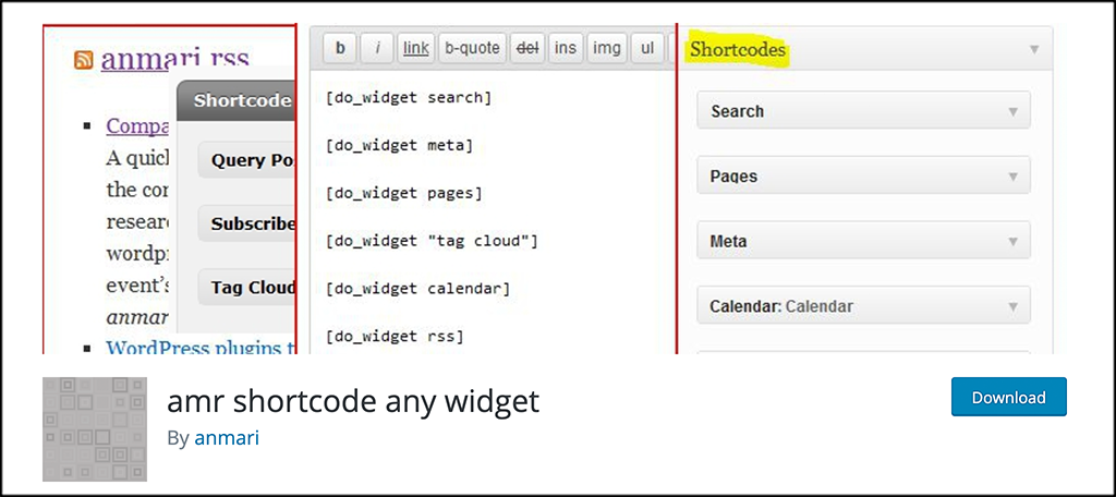 AMR shortcode any widget