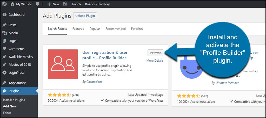 Activate Profile Builder to restrict content