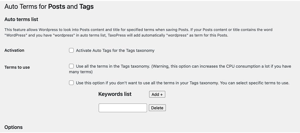 Auto terms configure page
