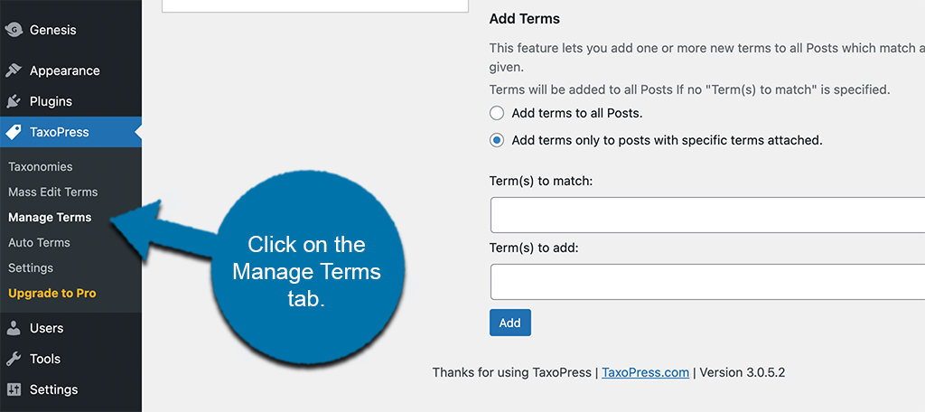 Click on manage terms to automatically tag posts