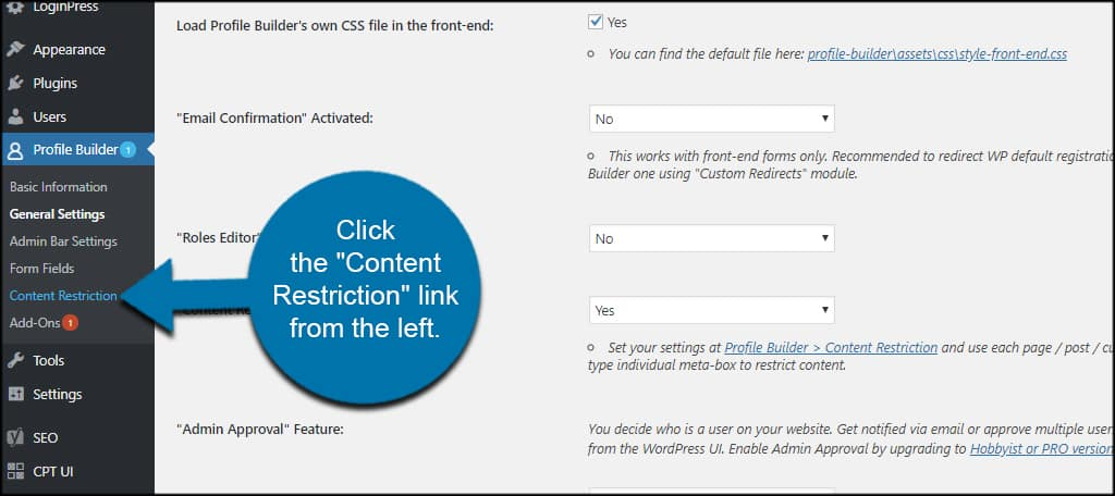 Content Restriction features to restrict content