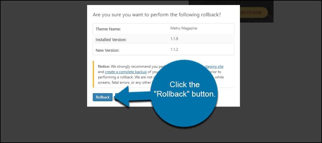 Rollback Theme Button
