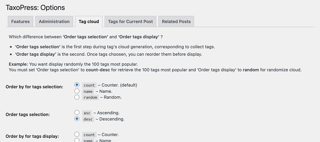 Tag clud for automatically tag posts plugin