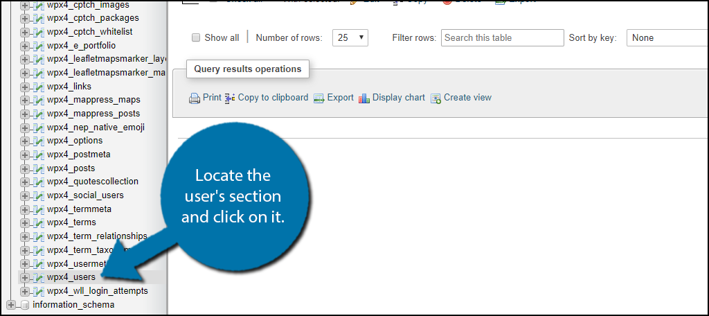 Locate the user's section and click on it.