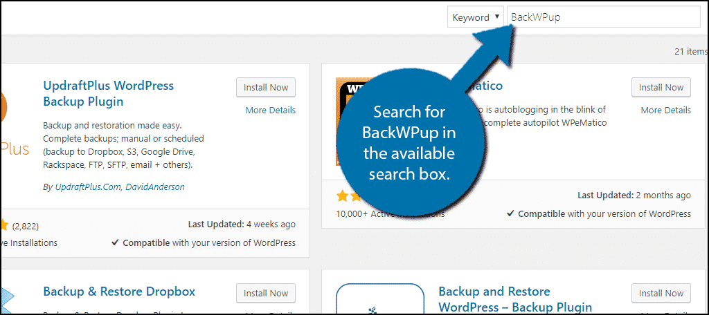 Search for BackWPup in the available search box.