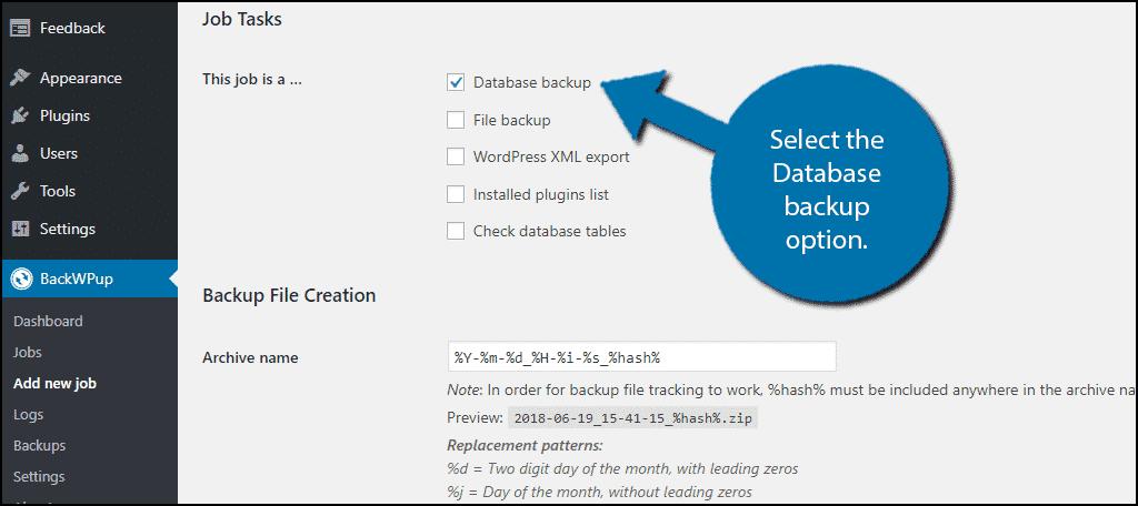 Check the Database Backup box.