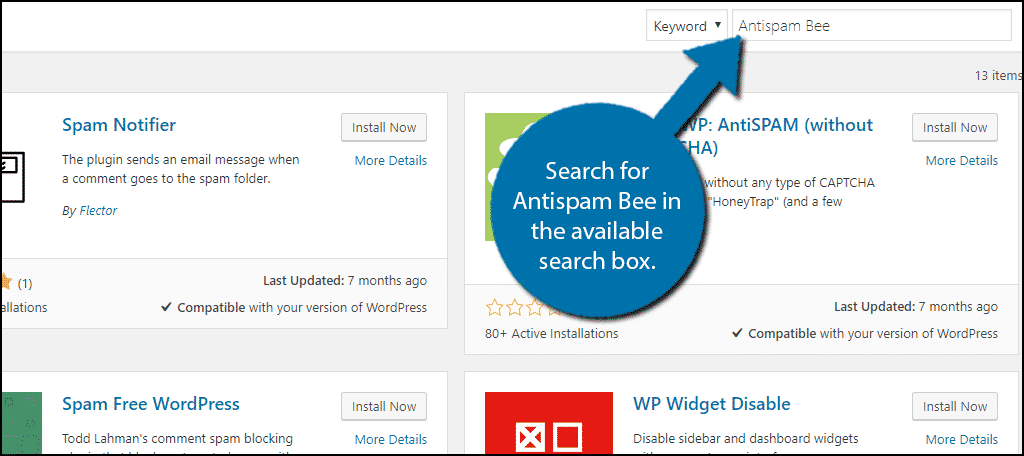 Search forAntispam Bee in the available search box.