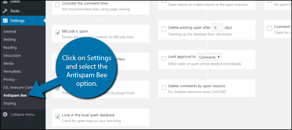 Click on Settings and select the Antispam Bee option.