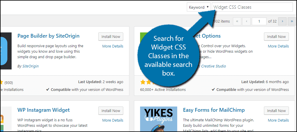 Search forWidget CSS Classes in the available search box.