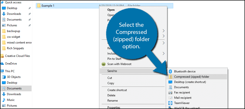 Select the Compressed (zipped) folder option.