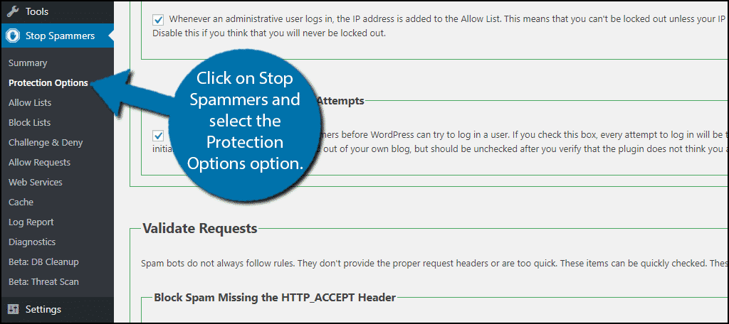 Click on Stop Spammers and select the Protection Options option.