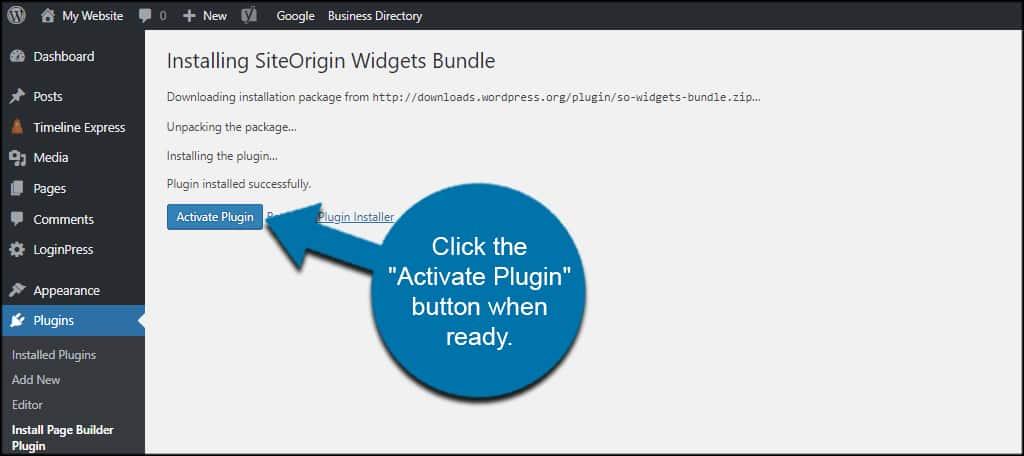 Activate SiteOrigin Plugin