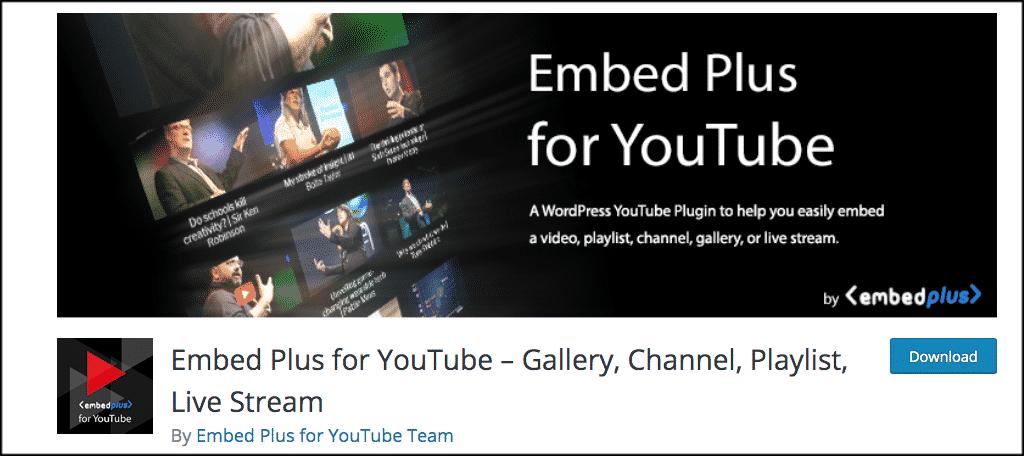 Embed plus youtube plugin