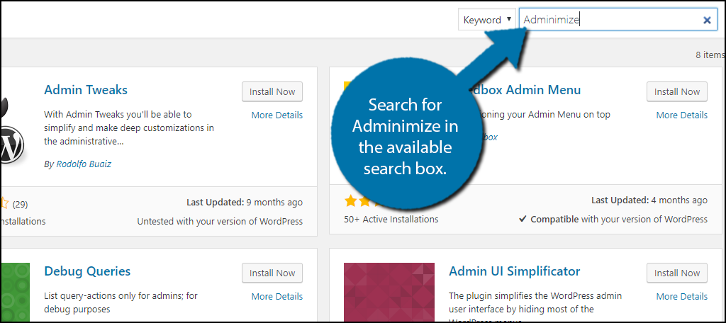 Search for Adminimize in the available search box.