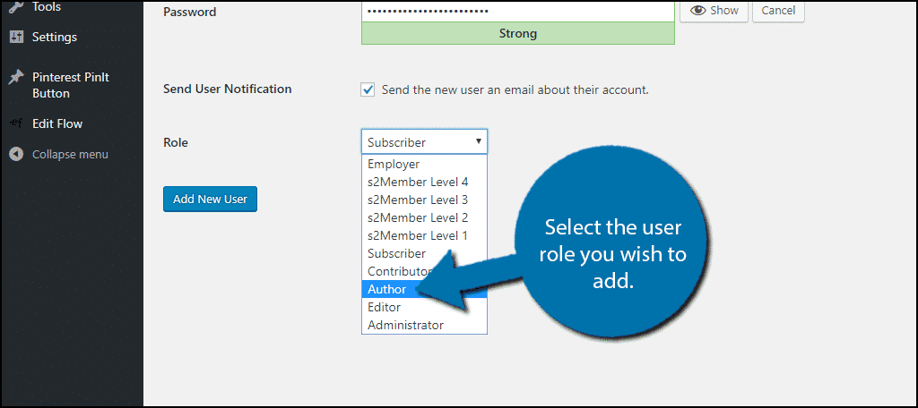 Select the user role you wish to add.
