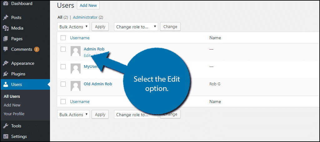Select the Edit option.