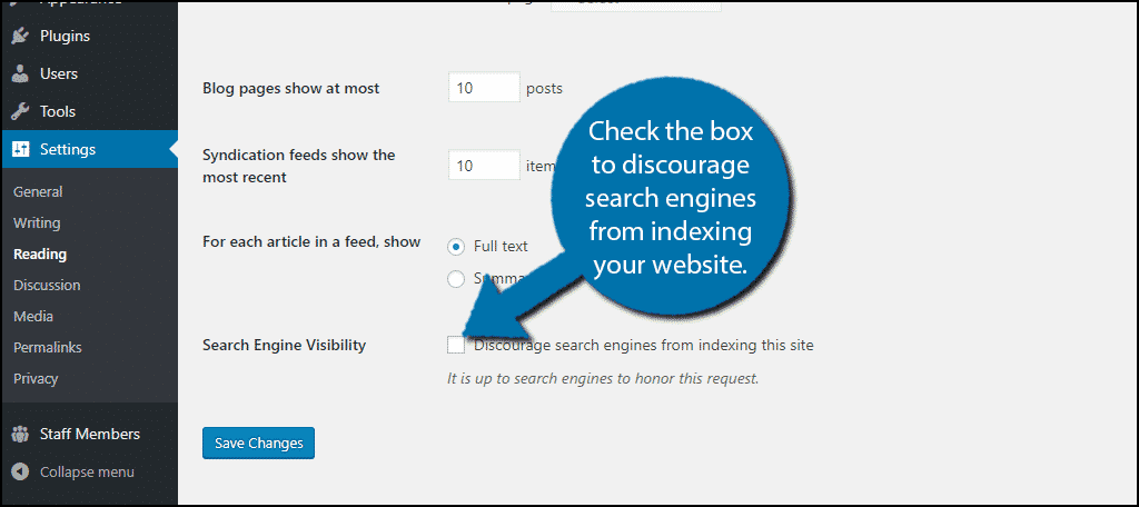 Check the box to discourage search engines from indexing your website.