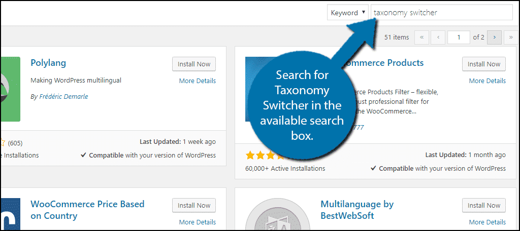 Search forTaxonomy Switcher in the available search box.