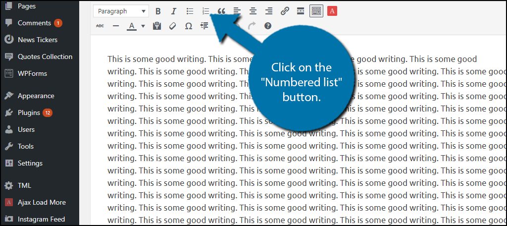 """Click on the """"Numbered list"""" button."""