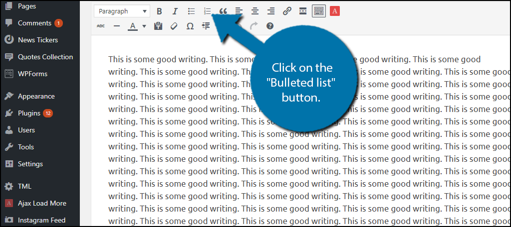 """Click on the """"Bulleted list"""" button."""