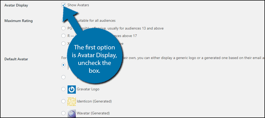The first option is Avatar Display, uncheck the box.