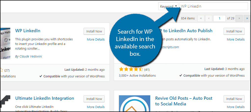 Search for WP LinkedIn in the available search box.