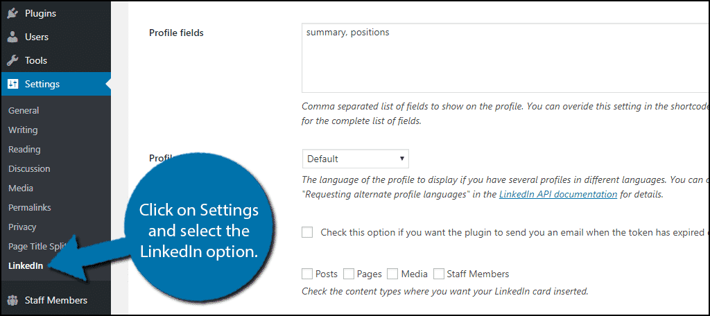 Click on Settings and select the LinkedIn option.