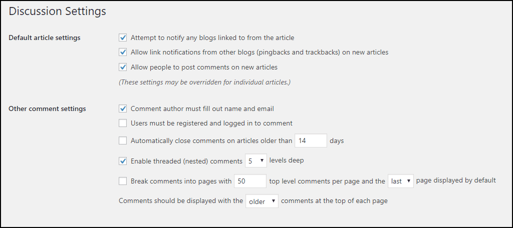 Default Article Settings