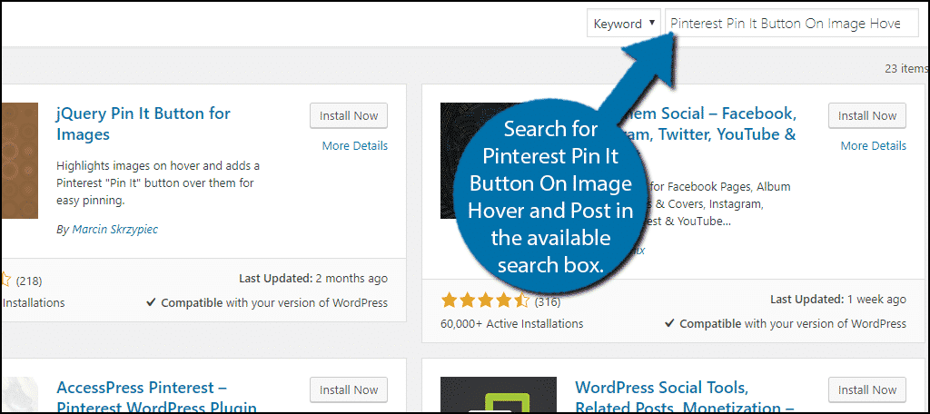 Search for Pinterest Pin It Button On Image Hover and Post in the available search box.