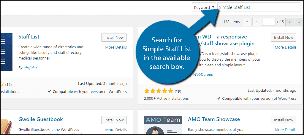 Search forSimple Staff List in the available search box.